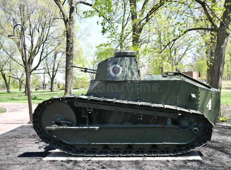 """M 1917 Light Tank. This is a Spring picture of a M 1917 Light Tank on exhibit at the """"Tank Park"""" at Cantigny Park located in Wheaton, Illinois in royalty free stock images"""