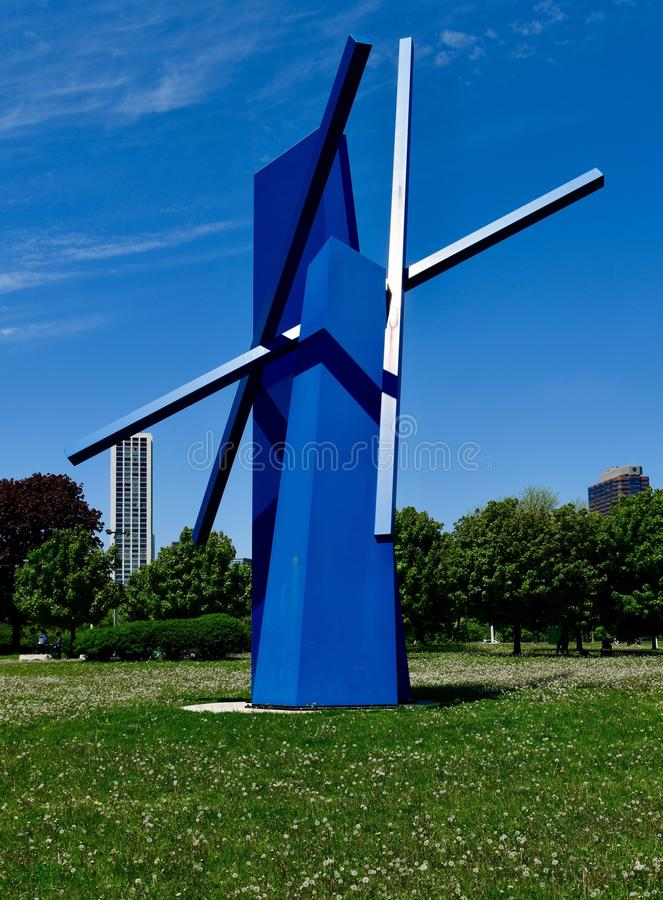 Chevron in Blue. This is a Spring picture of a piece of public art titled: Chevron, on display in Lincoln Park along the lakefront of Lake Michigan located in royalty free stock photos