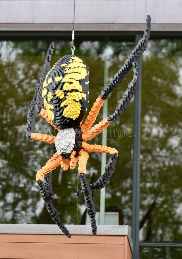 Corn Spider. This is a Spring picture of a piece of public art titled: Corn Spider, on exhibit at the Morton Arboretum in Lisle, Illinois in DuPage County.  This royalty free stock images