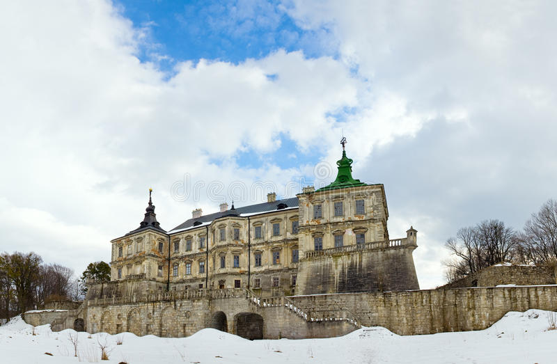 Spring Pidhirtsi Castle panorama view (Ukraine) stock photography