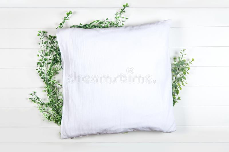 Spring Pillow Mockup on White Backround stock images