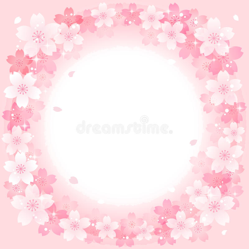 Spring Pink Cherry Blossoms Circle background vector illustration