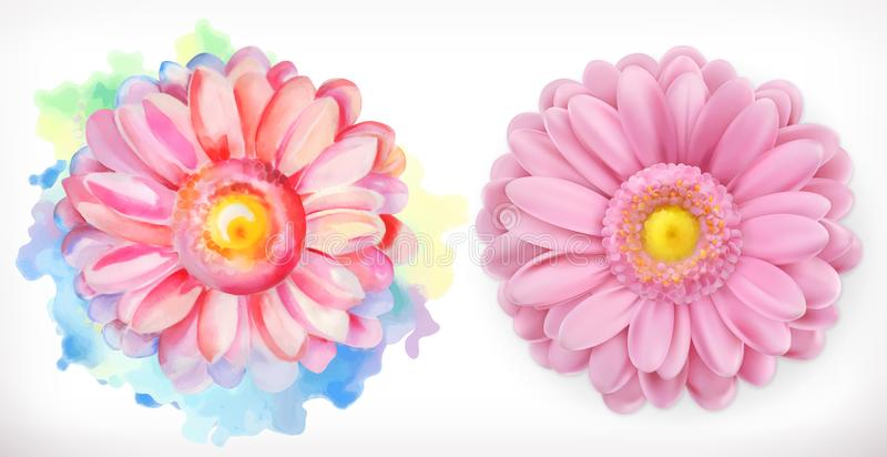 Spring pink flowers, Daisy, watercolor and 3d realism. On white background royalty free illustration