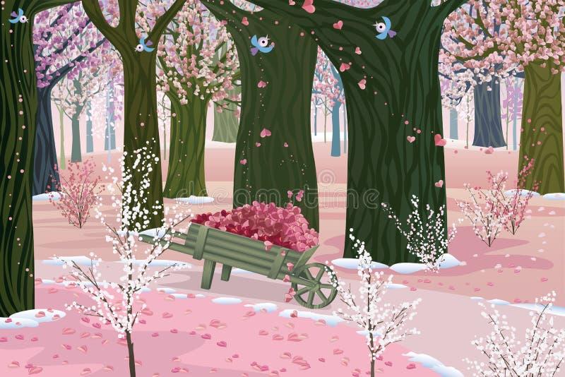 Spring pink forest vector illustration