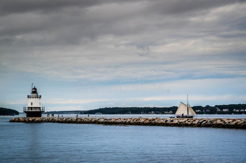 Spring Point Ledge Lighthouse in Cape Elizabeth, Maine. One of the iconic lighthouse of southern Maine in Cape Elizabeth stock image