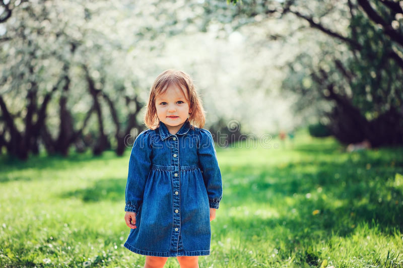 Spring portrait of cute little toddler girl in blue jeans dress walking in blooming park stock photography