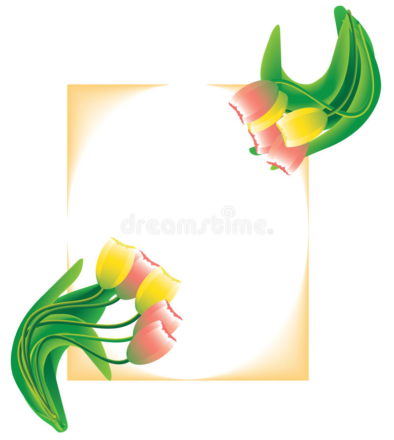Spring postcard. Spring vector postcard with yellow and pink tulips on frame background vector illustration