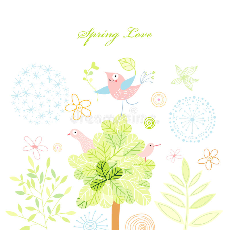 Download Spring Postcard With A Tree And Birds Stock Vector - Illustration: 18979554