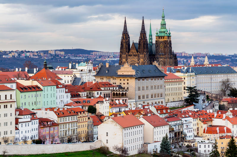 Spring Prague panorama from Prague Hill with Prague Castle, Vltava river and historical architecture. Concept of Europe travel, s royalty free stock image