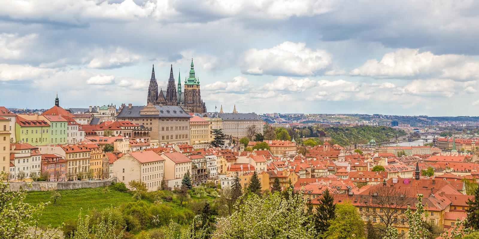 Spring Prague panorama from Prague Hill with Prague Castle, Vltava river and historical architecture. Concept of Europe travel, s royalty free stock images