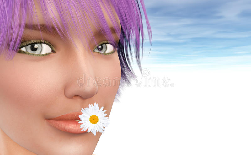 Spring presenting by Young girl. (3D picture). With Daisy in mouth stock photography