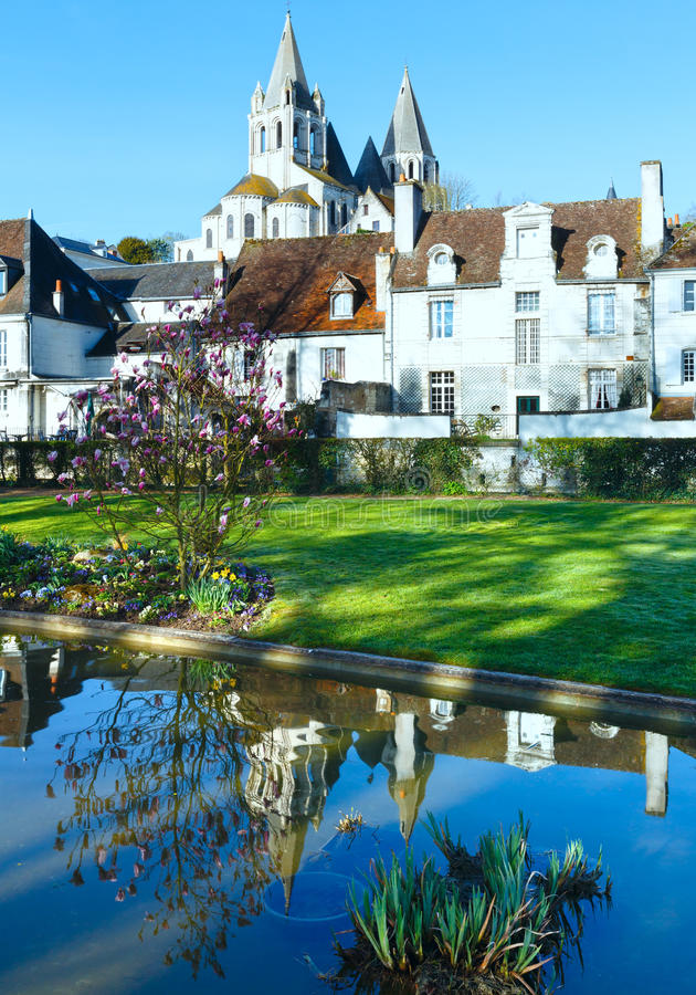 The spring public park in Loches town (France). The spring lovely public park in Loches town (France royalty free stock photography