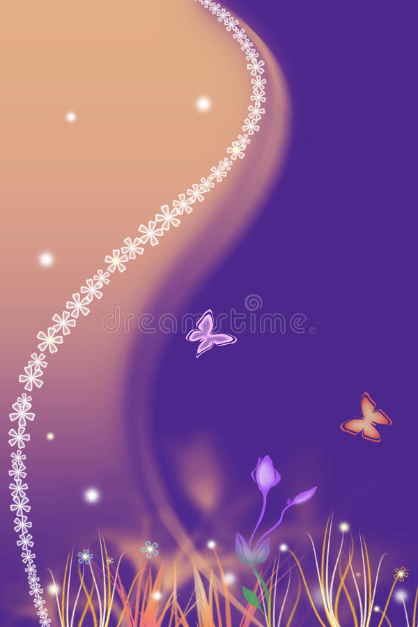Spring purple background with flowers vector illustration