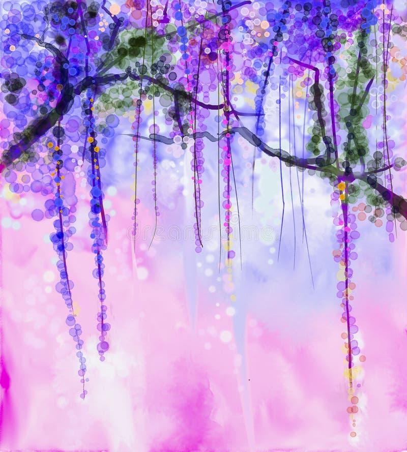 Spring purple flowers Wisteria watercolor painting. Abstract flowers watercolor painting. Spring purple flowers Wisteria with bokeh background