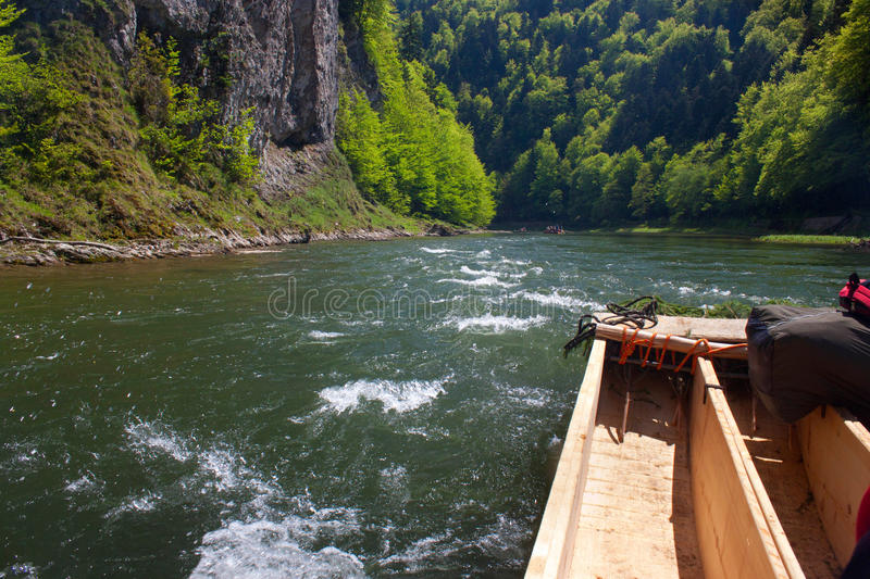 Spring rafting on the Dunajec river. In Pieniny National Park in Slovakia and Poland royalty free stock photo