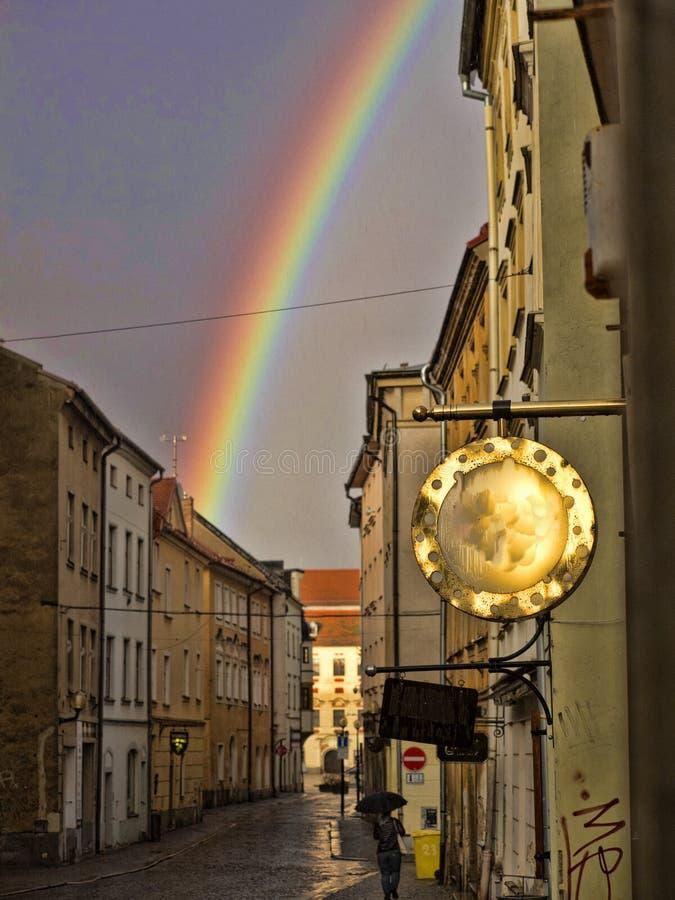 Spring rainbow over the city Jihlava. The Spring rainbow over the city Jihlava stock photography