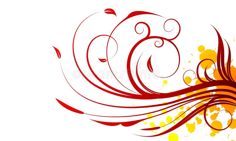 Spring red vector illustration. Spring vector illustration with floral motive on white background royalty free illustration