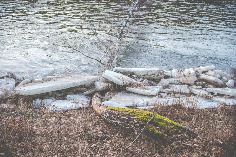 Spring river bank. Ice near river, ice on river band in spring. melting ice covered river bank royalty free stock images