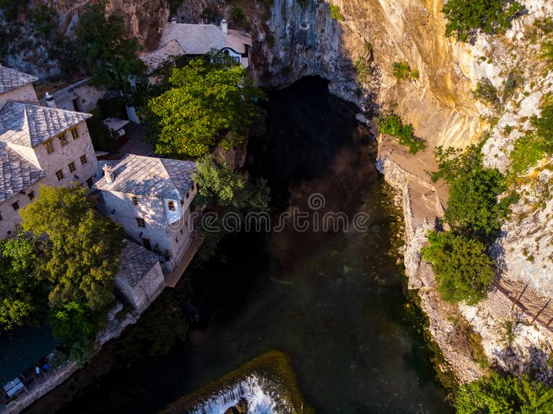 The spring of the river Buna under the cave royalty free stock image