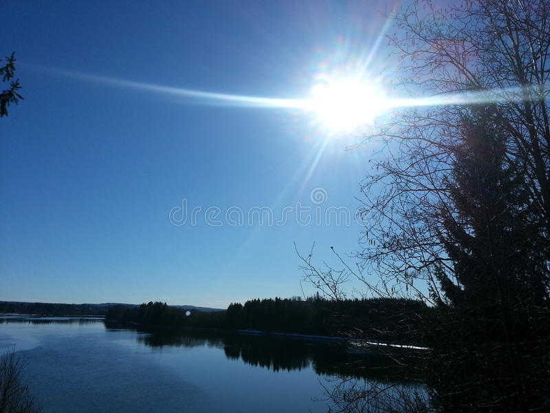 Spring river sun royalty free stock photography