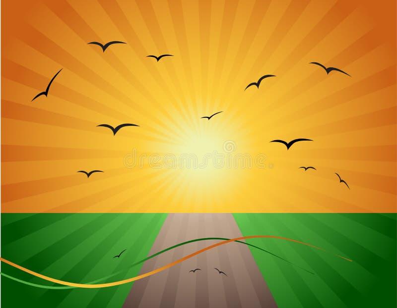 Spring, road on green field royalty free illustration