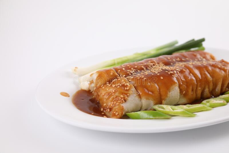 Spring Roll also known as Egg Roll local thai food isolated in white background stock photography