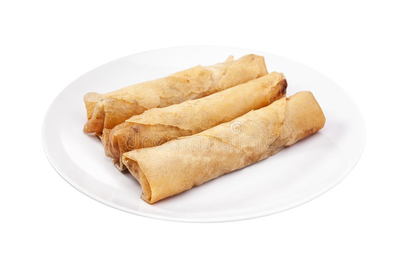 Spring rolls (Dim sum or Loempia) , isolated with clipping paths. royalty free stock images