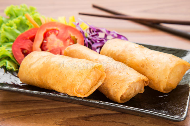 Spring rolls on dish. Asian food stock image