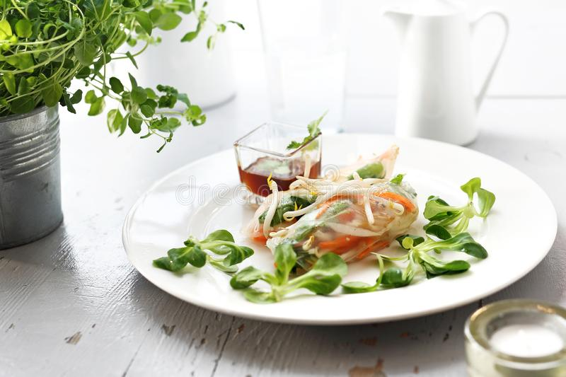 Spring Rolls. A healthy and light vegetarian snack stock photos