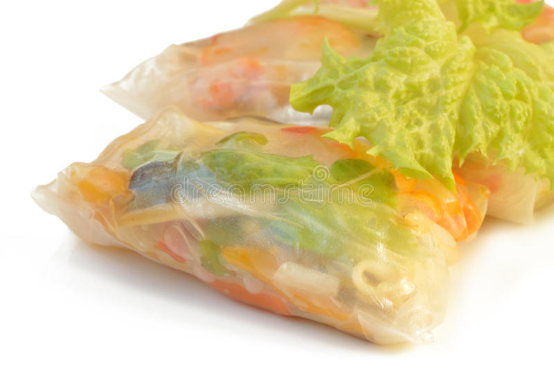 Spring rolls on a white background stock images