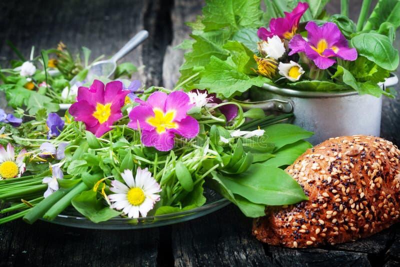 Spring salad wild herbs edible flowers stock image image of download spring salad wild herbs edible flowers stock image image of healthy mightylinksfo