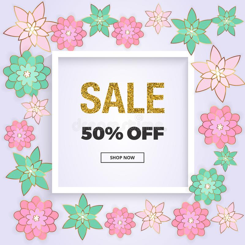 Spring sale, сover banner with pink and green flowers, gold glitter texture. Template for online shopping, designs, poster vector illustration