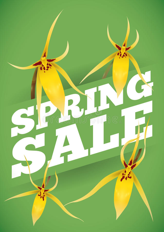 Spring Sale Advertising with Yellow Orchids Around it, Vector Illustration royalty free stock photography