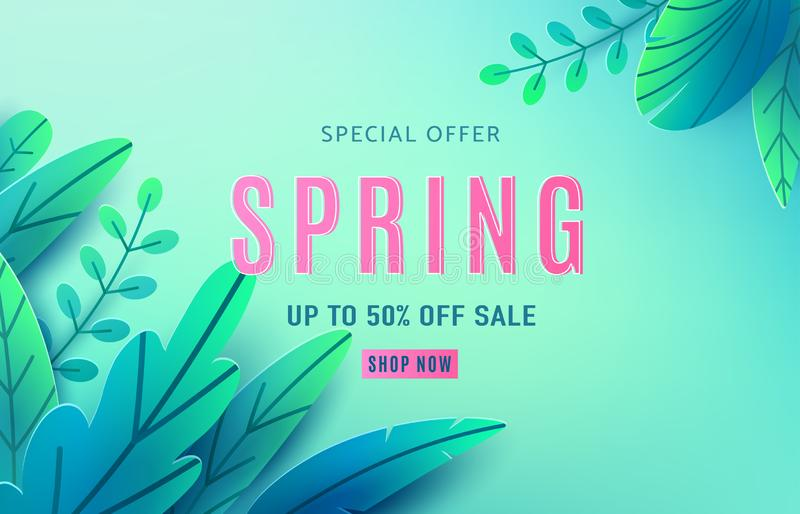 Spring sale background banner with fantasy leaves. Paper cut style with copy space, corner composition. Vector vector illustration