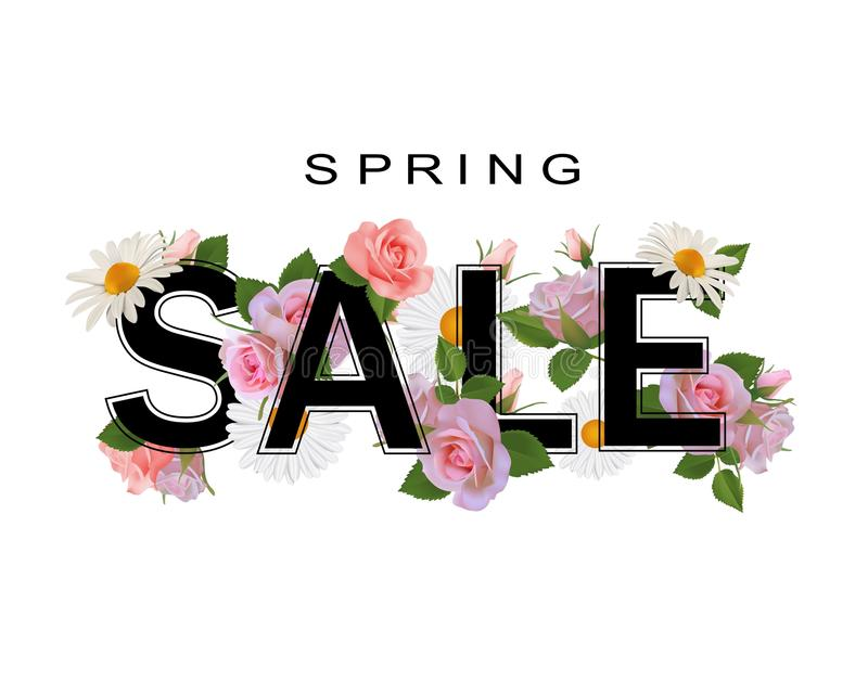 Spring sale background, banner with flowers, roses and chamomiles. stock illustration