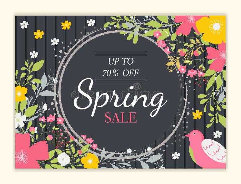 Spring sale background with beautiful colorful flower stock illustration