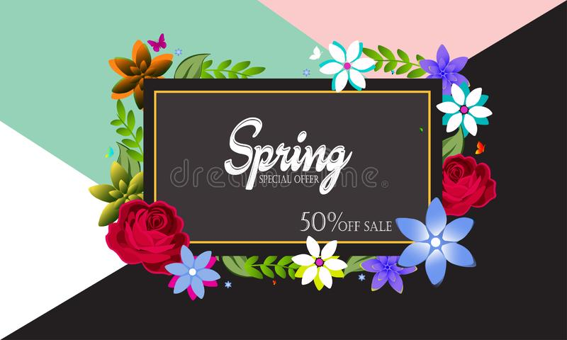 Spring sale background with beautiful colorful flower. Vector illustration template.banners. stock illustration