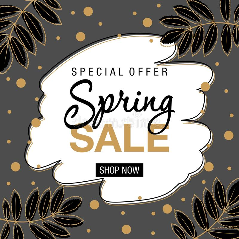 Spring sale background with beautiful flowers. Vector illustration. royalty free illustration