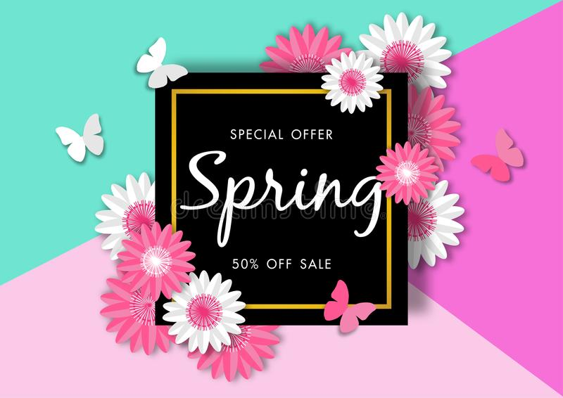 Spring sale background with beautiful flower vector illustration template royalty free illustration