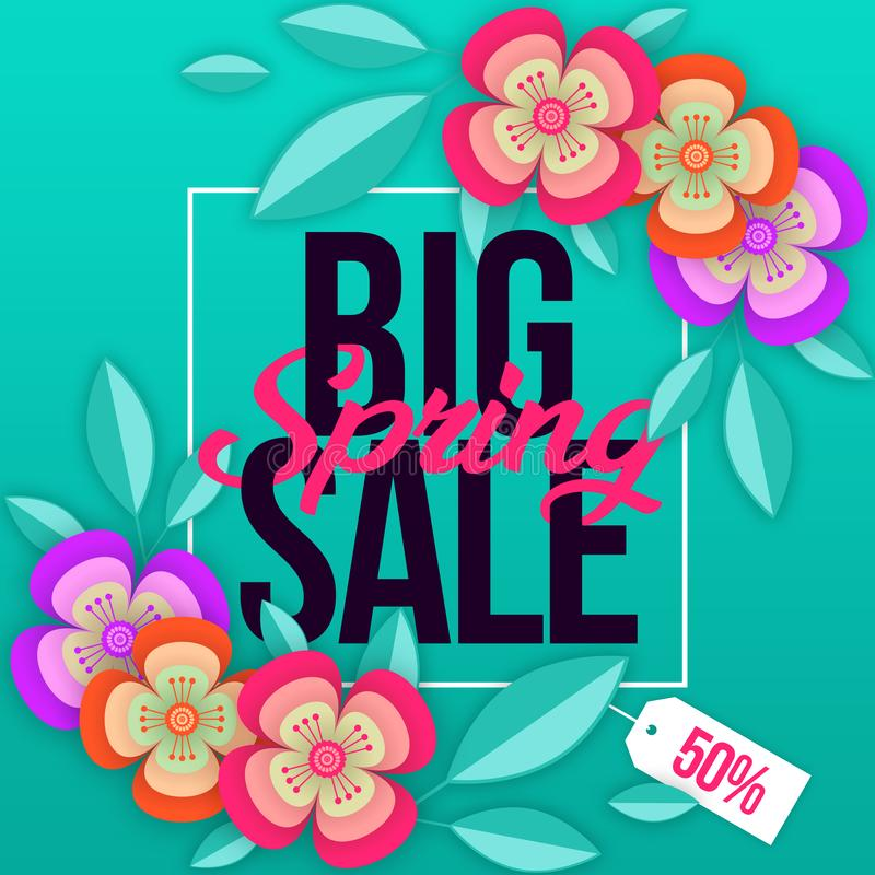 Spring sale background with colorful flower. Can be used for template, banners, wallpaper, flyers, invitation, posters, brochure,. Voucher discount, special vector illustration
