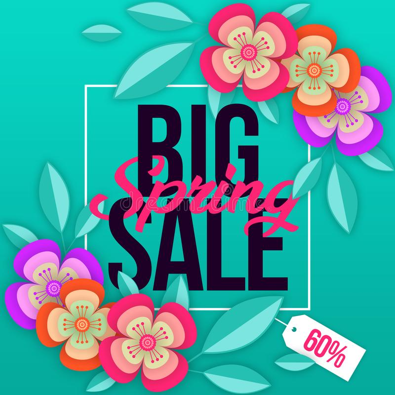 Spring sale background with colorful flower. Can be used for template, banners, wallpaper, flyers, invitation, posters, brochure,. Voucher discount, special royalty free illustration