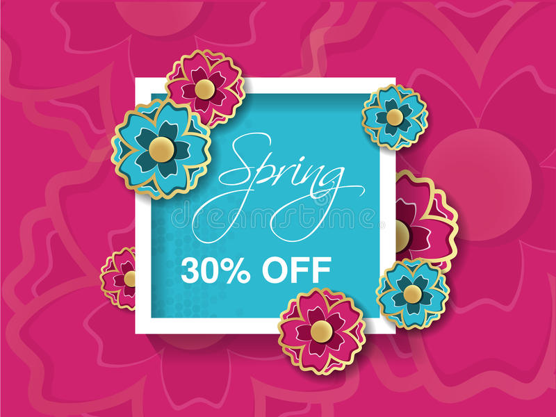 Spring sale background with colorful flower. Pink blue layout template. Card, banner, flyer, poster, brochure or voucher discount vector illustration