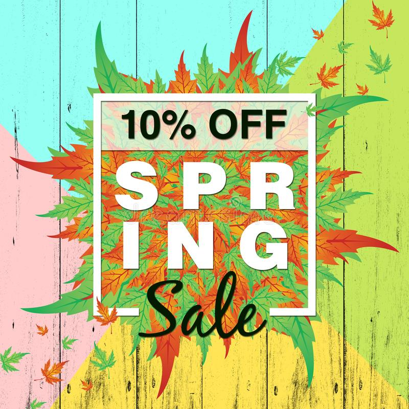 Spring sale background with colorful leaf for spring offer 10% off. Can be used for template, banners,  flyers, invitation, posters, voucher discount, special royalty free illustration