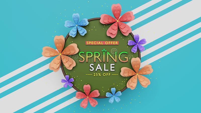 Spring sale background 3d rendering. Spring sale advertising background with colorful flowers 3d rendering royalty free illustration