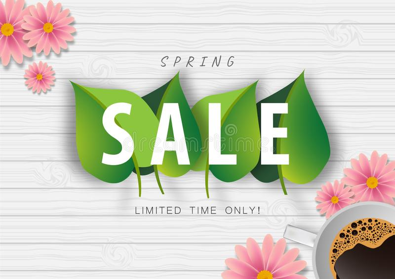 Spring sale background with leaf and flower on wood texture vector or illustration stock illustration