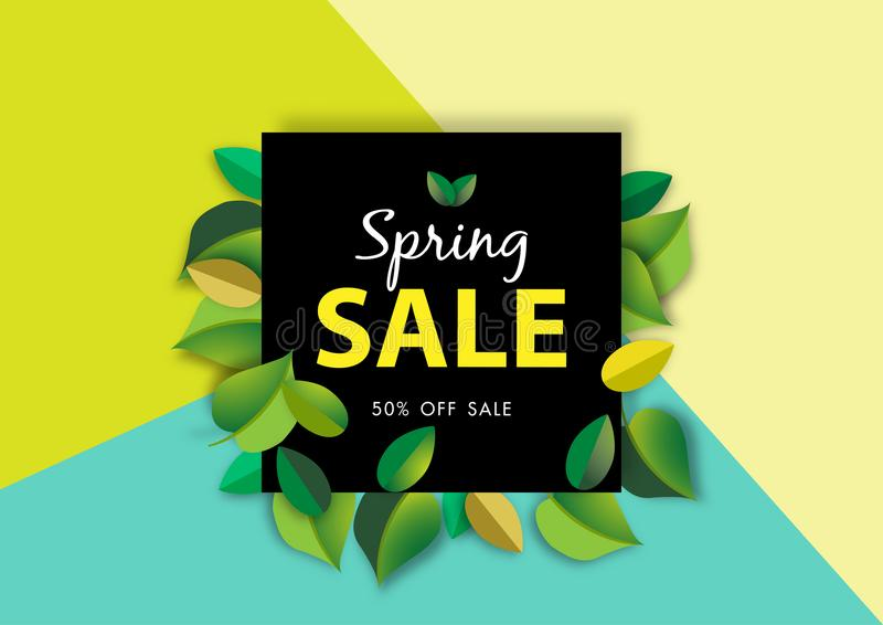Spring sale background with green leave, vector illustration template. Spring sale background with green leave and Graphic Design vector illustration template stock illustration