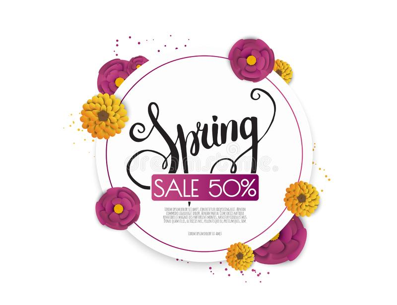 Spring sale background with paper flowers flower. Vector illustration template.banners.Wallpaper.flyers, invitation stock illustration