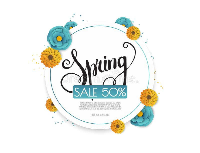 Spring sale background with paper flowers flower. Vector illustration template.banners.Wallpaper.flyers, invitation vector illustration