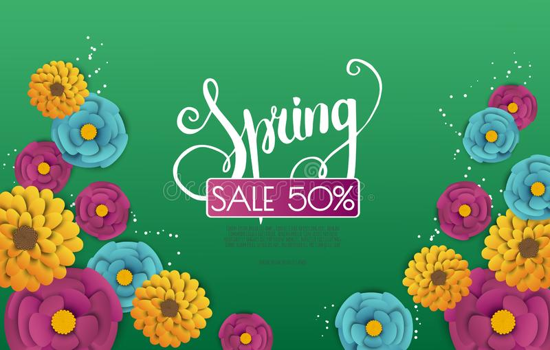 Spring sale background with paper flowers flower. Vector illustration template.banners.Wallpaper.flyers, invitation royalty free illustration