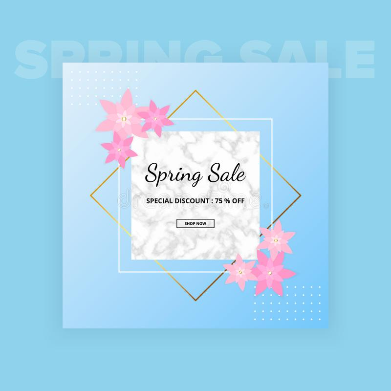 Spring sale banner background with beautiful pink flower, white marble texture and frame. Vector illustration. Templates for desig stock illustration